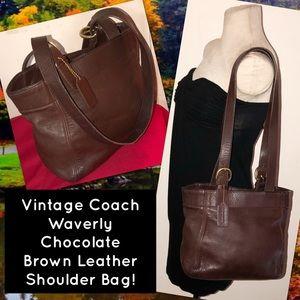 Vintage Coach Waverly Brown Leather Shoulder Bag!